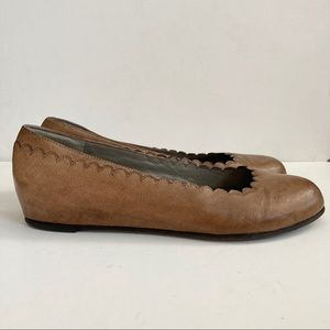 Eileen Fisher Scalloped Hidden Wedge Flats Sz 7